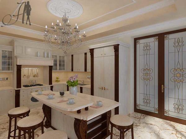 Цвет в интерьере кухни классического стиля
