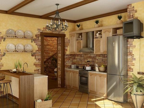 Декоративный камень на стене кухни