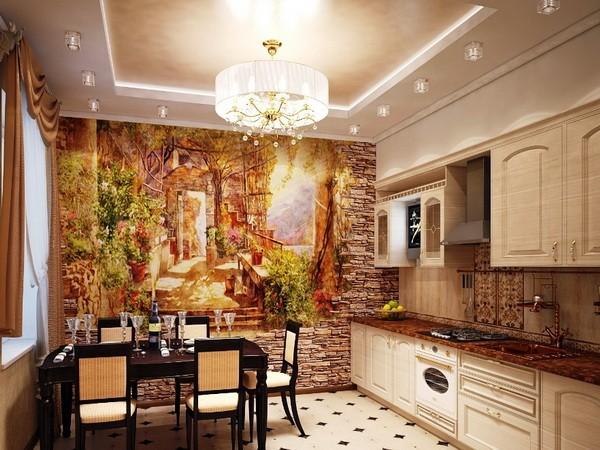 Декоративный камень и фотообои на кухне