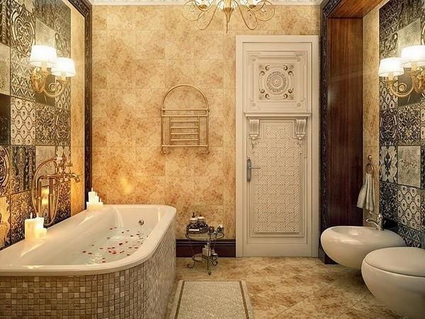 Расписная плитка в ванной