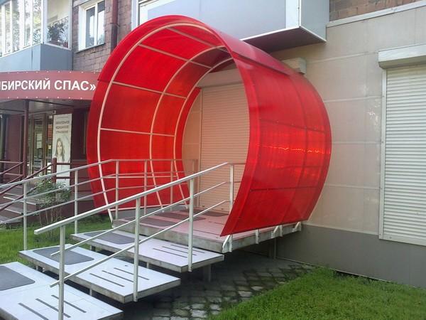 Крыльцо в виде арки из поликарбоната