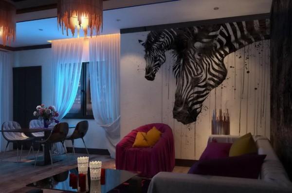 Фотообои с зебрами в интерьере