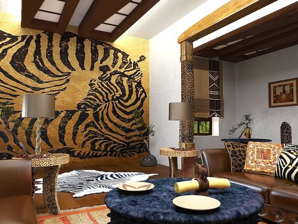 Зебра в африканском интерьере