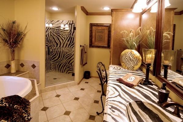 Принт зебра в интерьере ванной