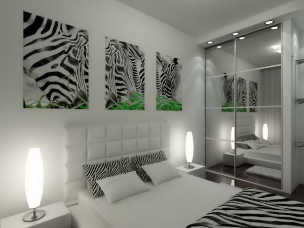 Принт зебра в интерьере спальни