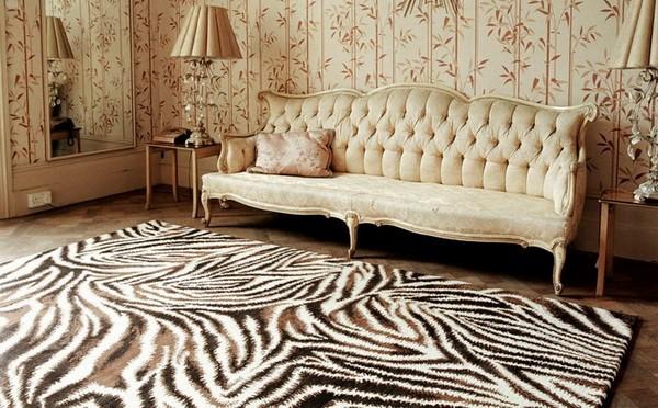 Принт зебра в классическом интерьере