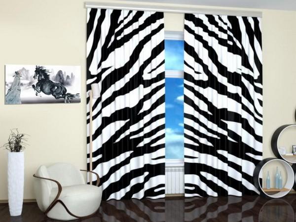 Принт зебра на шторах