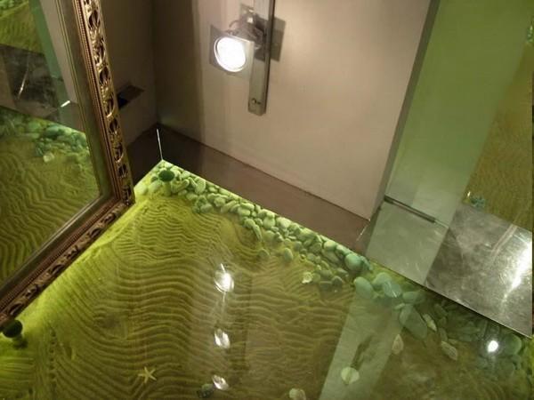 Необычный пол в ванной своими руками 100