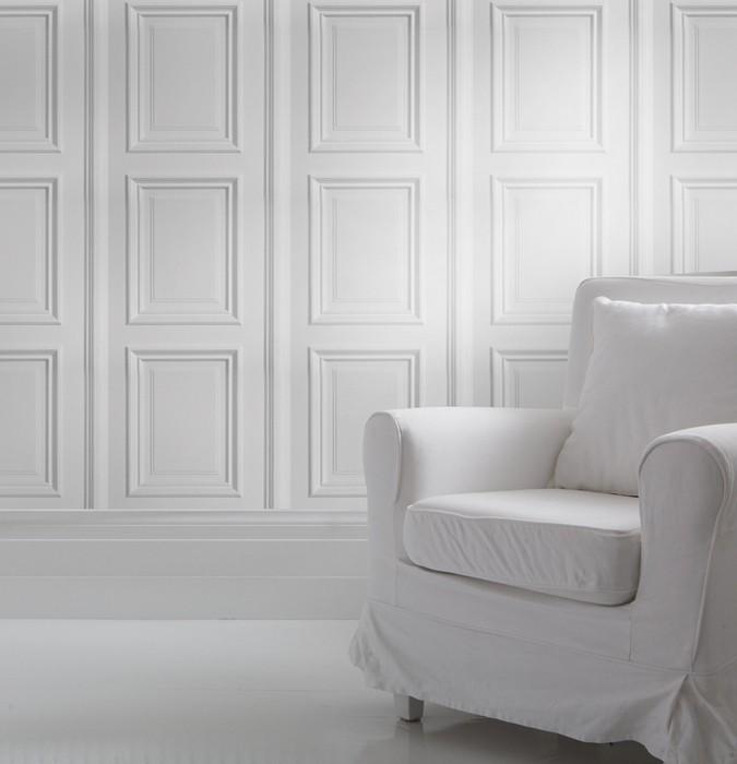 белые обои на стену: