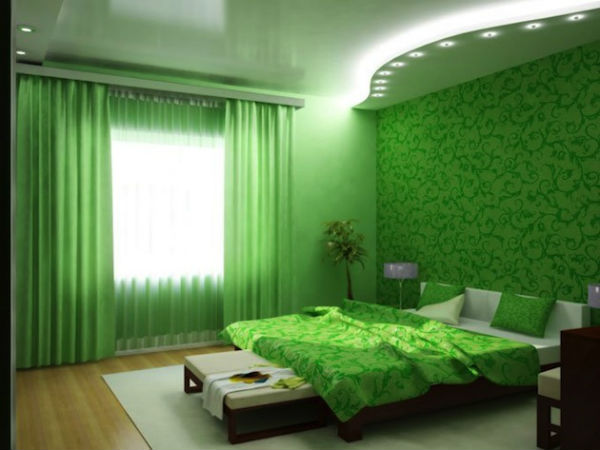 интерьер с зелеными обоями фото