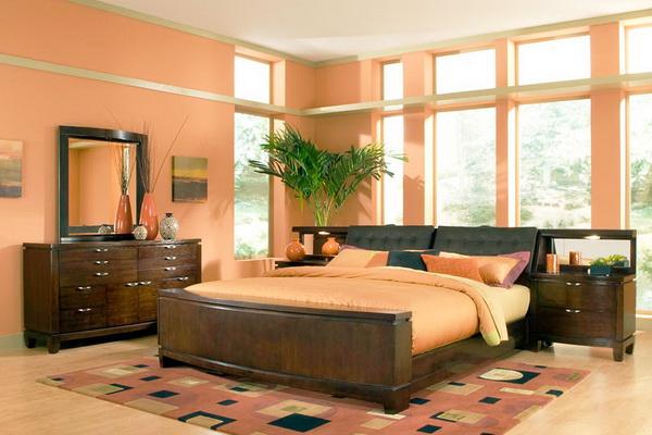 персиковые обои в интерьере фото