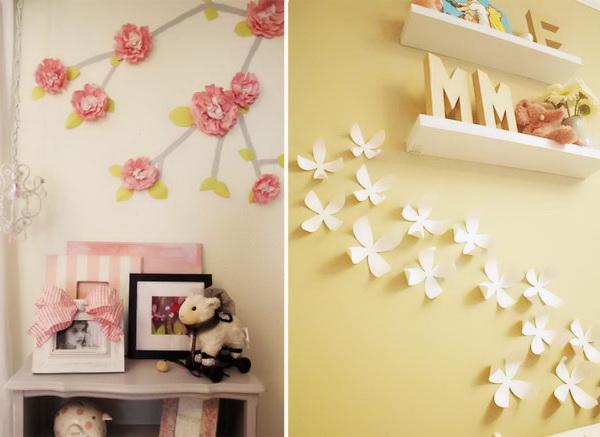 Как украсить стену в комнате из цветной бумаги