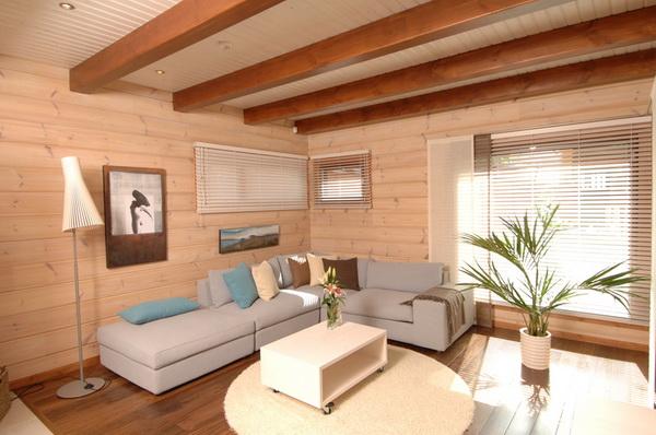 Внутренняя отделка дома имитацией бруса